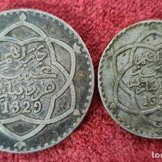 Monedas antiguas de África: PAREJA DE FRANCS MARROQUIES. MONEDAS DE PLATA. 1 Y 1/2 RIAL. 1329. ( 1911).. Lote 254676460