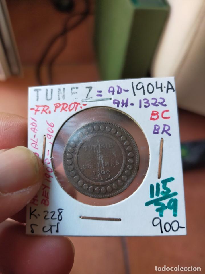 MONEDA DE 5 CINCO CENTIMOS CENTIMES 1904 A MUHAMMAD AL ADI MUY BUENA CONSERVACION TUNEZ (Numismática - Extranjeras - África)