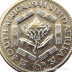 Monedas antiguas de África: SUDAFRICA MONEDA DE PLATA DE 6 PENCE JORGE VI. Lote 255289085