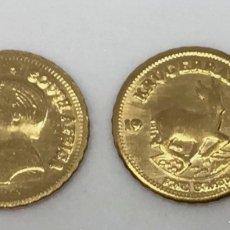 Monedas antiguas de África: LOTE DE 2 MONEDAS DE ORO 22 K HGE – KRUGERRAND 1978 MINI GOLD COIN. Lote 255362975
