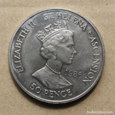Monedas antiguas de África: SANTA HELENA Y ASCENSION - 50 PENIQUES 1986 - MUERTE DE NAPOLEON.. Lote 255646830
