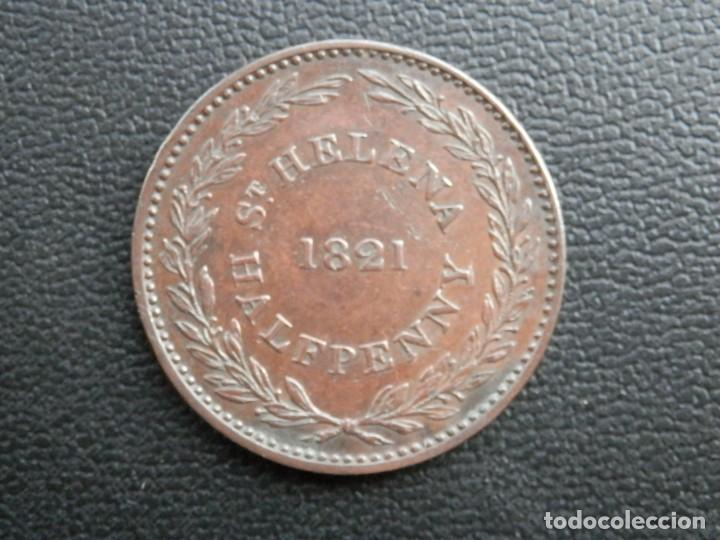 ISLA DE SANTA ELENA MONEDA HALF PENNY AÑO 1821, CONSERVACIÓN = MBC BONITA PATINA (Numismática - Extranjeras - África)