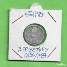 Monedas antiguas de África: PLATA-EGIPTO. 2 PIASTRES 1356/1937. 2,8 GRAMOS DE LEY 0,833. FAROUK. Lote 261554020