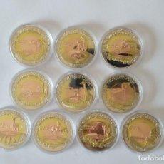 Monedas antiguas de África: 10 MONEDAS CONMEMORATIVAS MUNDIAL DE FUTBOL SUDÁFRICA 2010 , TRIMETÁLICAS (PLATA , LATÓN , COBRE). Lote 262707400