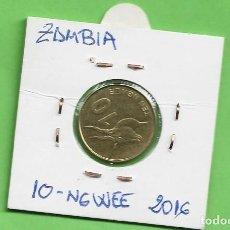 Monedas antiguas de África: ZAMBIA 10 NGWEE 2016. ACERO CON LATÓN KM#206. Lote 263602660