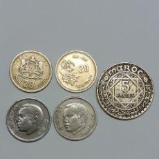 Monedas antiguas de África: 5 MONEDAS DE MARRUECOS, AÑOS 1941, 87,74 Y2002. Lote 266594003