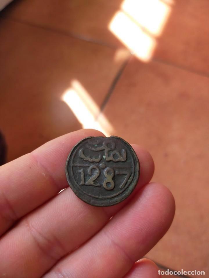 MONEDA DE 4 CUATRO 1287 FALUS FELUS MOHAMMED IV 11.14 GRAMOS 28 MM DIAMETRO MARRUECOS (Numismática - Extranjeras - África)
