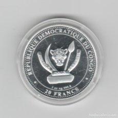 Monedas antiguas de África: REPUBLICA DEMOCRATICA DEL CONGO- 1 ONZA-20 FRANCOS-2021-PROF-ENCAPSULADA. Lote 278476863