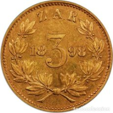 Monedas antiguas de África: ZAR GOLD 3D TICKEY SAMMY MARKS 1898 PROOF COIN (PCGS). Lote 278569468