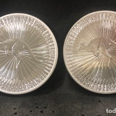 Monedas antiguas de África: 2 MONEDAS LINGOTES DOBLE ONZA DE PLATA PURA - KRUGERRAND 2021 SUDÁFRICA. Lote 287781903