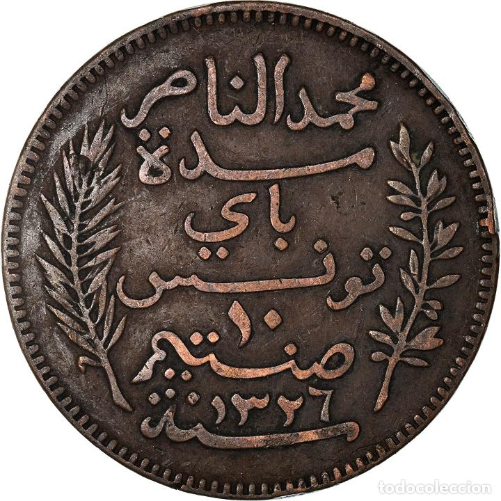 [#898189] MONEDA, TÚNEZ, MUHAMMAD AL-NASIR BEY, 10 CENTIMES, 1908, PARIS, MBC, BRONCE (Numismática - Extranjeras - África)