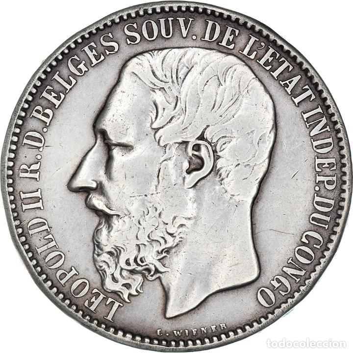 [#908564] MONEDA, ESTADO LIBRE DEL CONGO, LEOPOLD II, 5 FRANCS, 1894, BRUSSELS, MBC+ (Numismática - Extranjeras - África)