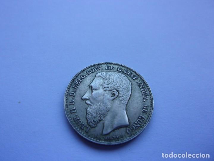 Monedas antiguas de África: 7SCK16 Congo Leopoldo II 50 centimes plata 1896 - Foto 2 - 287935623
