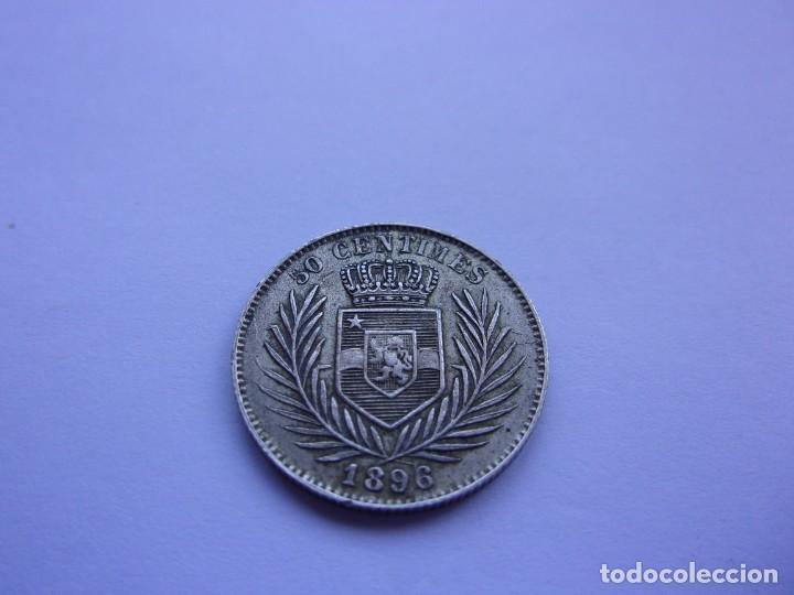 Monedas antiguas de África: 7SCK16 Congo Leopoldo II 50 centimes plata 1896 - Foto 5 - 287935623