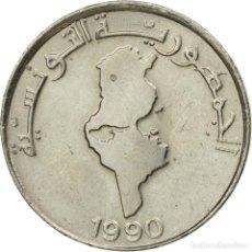 Monedas antiguas de África: [#535842] MONEDA, TÚNEZ, 1/2 DINAR, 1990, PARIS, MBC, COBRE - NÍQUEL, KM:318. Lote 290085428