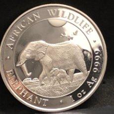 Monedas antiguas de África: MONEDA LINGOTE ONZA DE PLATA PURA - ELEFANTE 2022 SOMALIA. Lote 294457973