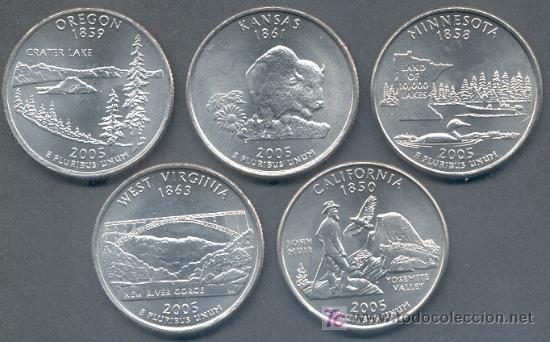SERIE ESTADOS UNIDOS 5 MONEDAS QUARTER 1/4 DOLAR 2005 CECA P (Numismática - Extranjeras - América)