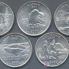 Monedas antiguas de América: SERIE ESTADOS UNIDOS 5 MONEDAS QUARTER 1/4 DOLAR 2005 CECA P. Lote 257388370