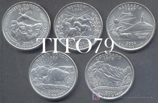 SERIE ESTADOS UNIDOS 5 MONEDAS QUARTER 1/4 DOLAR 2006 CECA P (Numismática - Extranjeras - América)