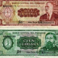 Monedas antiguas de América: PARAGUAYA - LOTE 2 BILLETES - 10 GUARANIES, 25 MARZO 1952 / 100 GUGARANIES, 25 MARZO 1952. Lote 13190224