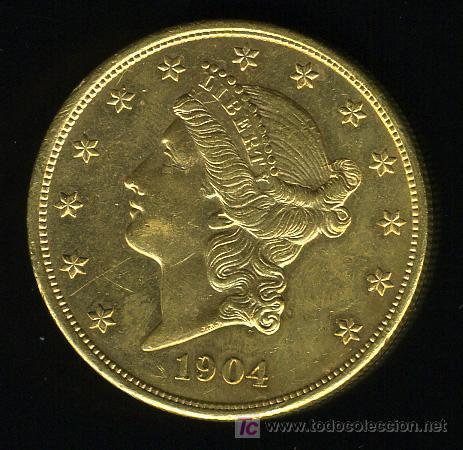 MONEDA ORO , 20 DOLARES USA, 1904 (Numismática - Extranjeras - América)