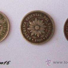 Monedas antiguas de América: URUGUAY 1 CENTESIMO - 3 MONEDAS IMAGEN SOL 1901-1909-1924- 3 SOL IMAGE PIÈCES DE MONNAIE - COINS. Lote 26514772