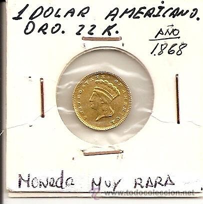 EXTRAORDINARIA MONEDA DE ORO 22K.-1 DOLLAR 1868 UNITED STATES OF AMERICA.(PESO 1,65G-DIAM.15MM).EBC+ (Numismática - Extranjeras - América)