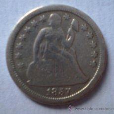 Monedas antiguas de América: ESTADOS UNIDOS USA 1 DIME 1857 PLATA VER FOTOS. Lote 22698280