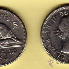 Monedas antiguas de América: MONEDA NIQUEL CANADÁ AÑO 1964 5 CENTS MBC. Lote 24406300