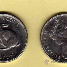Monedas antiguas de América: MONEDA NIQUEL CANADÁ AÑO 1967 5 CENTS MBC. Lote 24406337