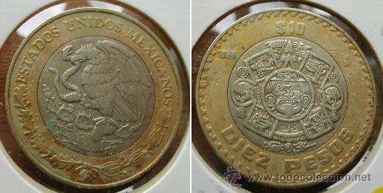 cd7e68b6c32 MEXICO 10 PESOS 1998 - CALENDARIO AZTECA - BIMETALICA (Numismática -  Extranjeras - América) ...