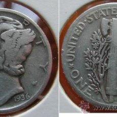 Monedas antiguas de América: ESTADOS UNIDOS - USA - 1 DIME (10 CENTAVOS) 1936 - PLATA. Lote 25998744