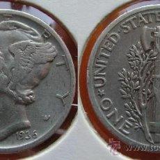 Monedas antiguas de América: ESTADOS UNIDOS - USA - 1 DIME (10 CENTAVOS) 1936 - PLATA. Lote 25998753