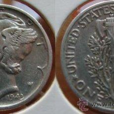 Monedas antiguas de América: ESTADOS UNIDOS - USA - 1 DIME (10 CENTAVOS) 1943 - PLATA. Lote 25998938