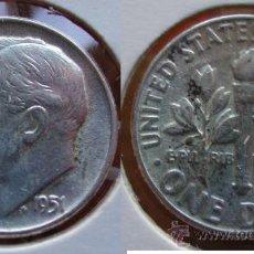 Monedas antiguas de América: ESTADOS UNIDOS - USA - 1 DIME (10 CENTAVOS) 1951 - PLATA. Lote 25998970