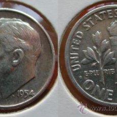 Monedas antiguas de América: ESTADOS UNIDOS - USA - 1 DIME (10 CENTAVOS) 1954 - PLATA. Lote 25998995
