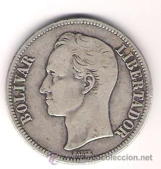 MONEDA PLATA VENEZUELA 1936 5 BOLIVARES ( UN FUERTE ) 25 GRAMOS LEY 900 (Numismática - Extranjeras - América)