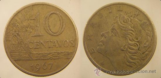 MONEDA 10 CENTAVOS 1967 BRASIL (Numismática - Extranjeras - América)