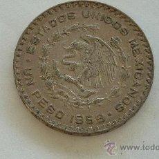 Monedas antiguas de América: PLATA. 1 PESO MEXICANO DE 1959. MIDE 3,4 CM DE DIAMETRO.. Lote 252750400
