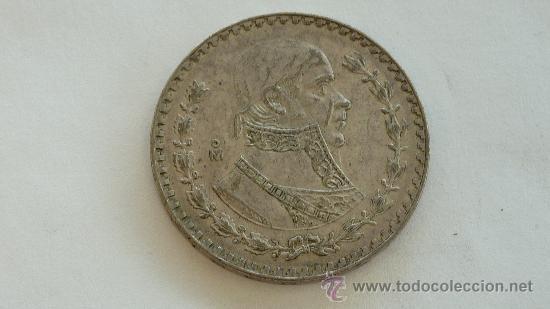 Monedas antiguas de América: plata. 1 peso mexicano de 1959. mide 3,4 cm de diametro. - Foto 2 - 252750400