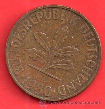MONEDA REPUBLICA DEUTSCHLAND 10 PENNIC DEL 1980 (Numismática - Extranjeras - América)