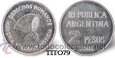 ARGENTINA 2 PESOS 2006 DERECHOS HUMANOS (Numismática - Extranjeras - América)