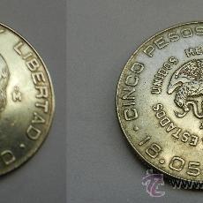 Monedas antiguas de América: CINCO PESOS MEXICANOS HIDALGO 1955 PLATA 720 . Lote 29811947