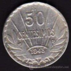 Monedas antiguas de América: 1 MONEDA - 50 CENTÉSIMOS DE PLATA - REPÚBLICA ORIENTAL DE URUGUAY - 1943 - ARTIGAS. Lote 29851857
