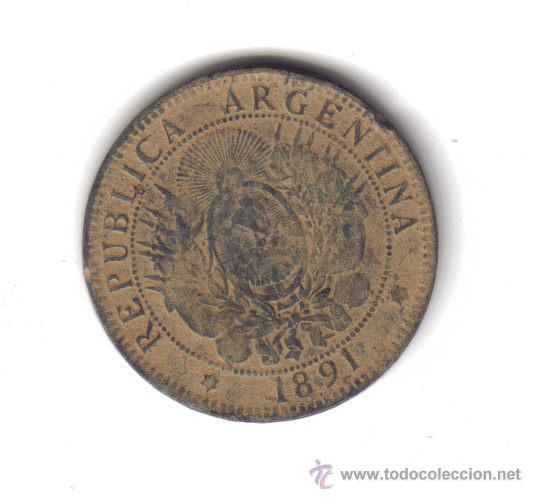 MONEDA 2 CENTAVOS DE PATACON REPUBLICA ARGENTINA 1891 BRONCE (Numismática - Extranjeras - América)