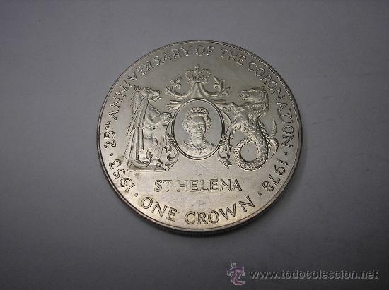 Monedas antiguas de América: 1 CORONA DE METAL DE SANTA HELENA. ANIVERSARIO DE LA CORONACIÓN.1953-1978 - Foto 2 - 30321723