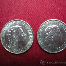 Monedas antiguas de América: MONEDAS DE 1 GULDEN HOLANDES AÑOS 1964 Y 1965. Lote 31296349