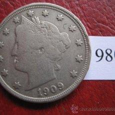 Monedas antiguas de América: ESTADOS UNIDOS DE AMERICA , 5 CENTIMOS DOLAR 1909 P,USA. Lote 32388130