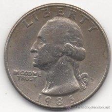Monedas antiguas de América: VEINTICINCO CENTAVOS (CUARTO DE DÓLAR). ESTADOS UNIDOS DE AMÉRICA. 1986.. Lote 33004560