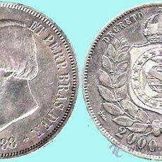 Monedas antiguas de América: BRASIL 1888. PEDRO II - 2000 REIS, PLATA 25,5 GR. CECA RIO CONSERVACION SIN CIRCULAR SC-. Lote 164834233